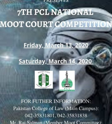 7th PCL NATIONAL MOOT COURT COMPETITION , 2020