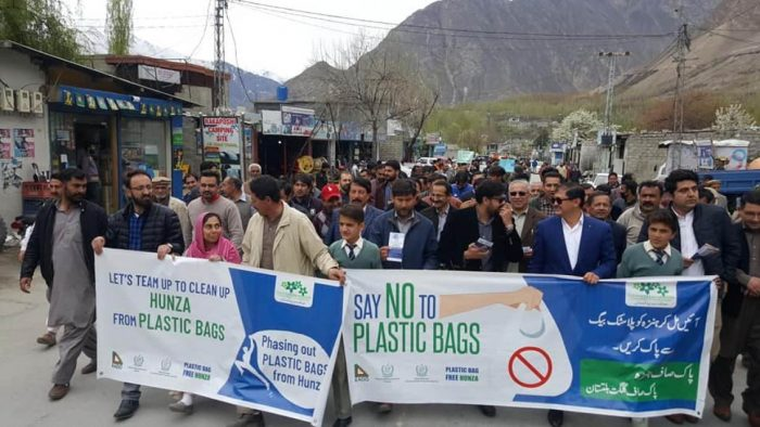 Campaign to create awareness and say no to plastic bags in northern areas