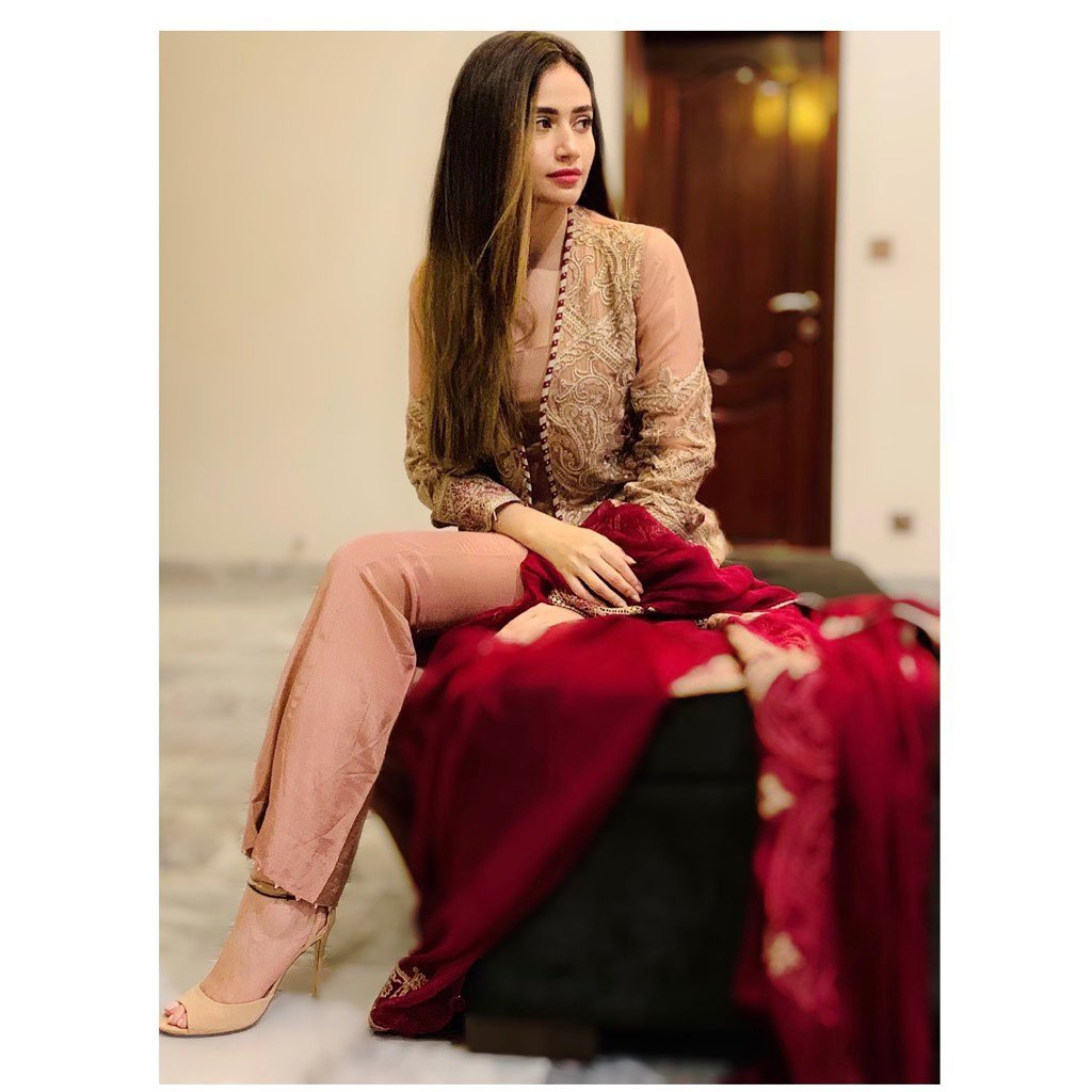 Sana-Javed in red and pink dress