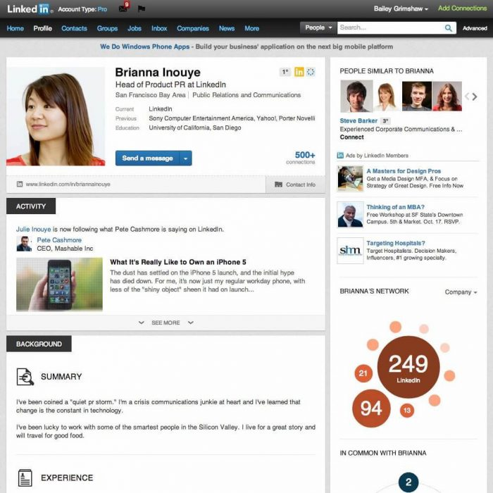 Work on your LinkedIn Profile