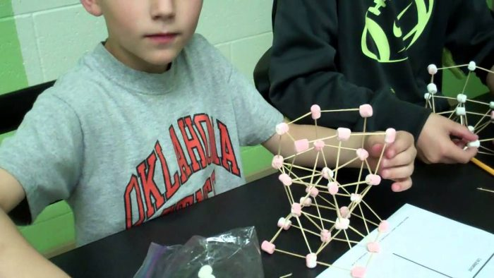 Building structures with toothpicks and marshmallows