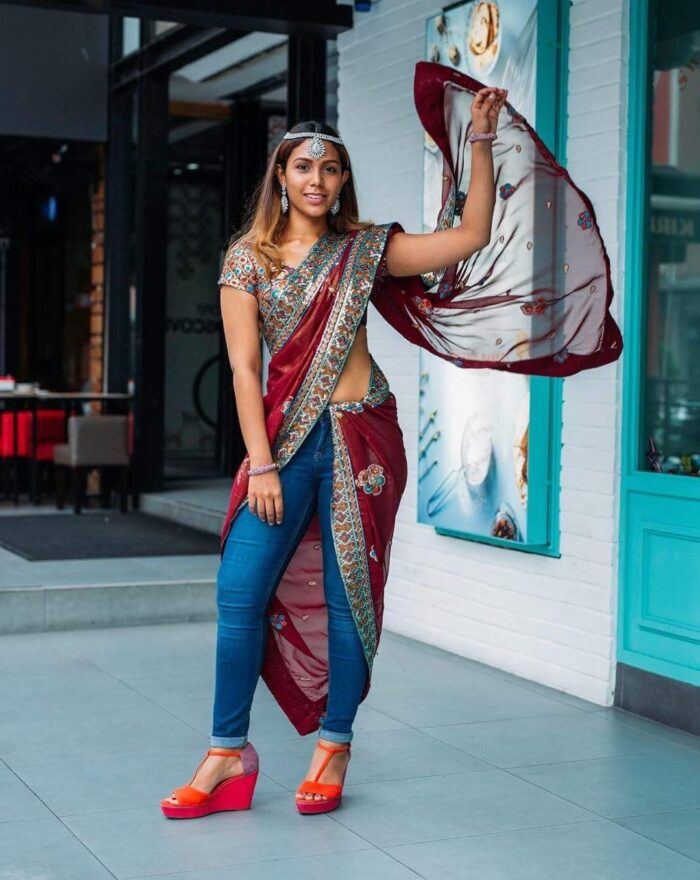 RAYON SAREE WITH JEANS